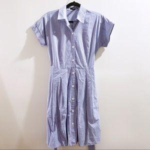 Land's End Blue Checkered Shirt Dress Size 4